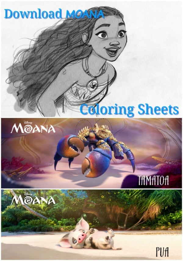 Disey MOANA, COLORING SHEETS