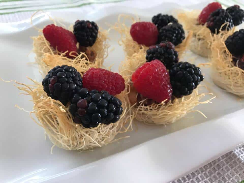 Fruit Baskets with Shredded Pastry Dough