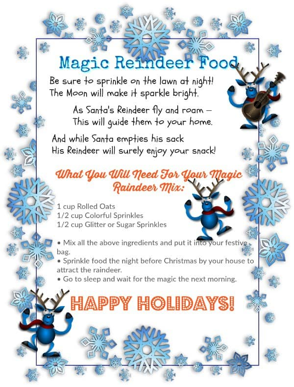graphic about Reindeer Food Printable named Down load PRINTABLE Magic Reindeer Foodstuff And A Poem