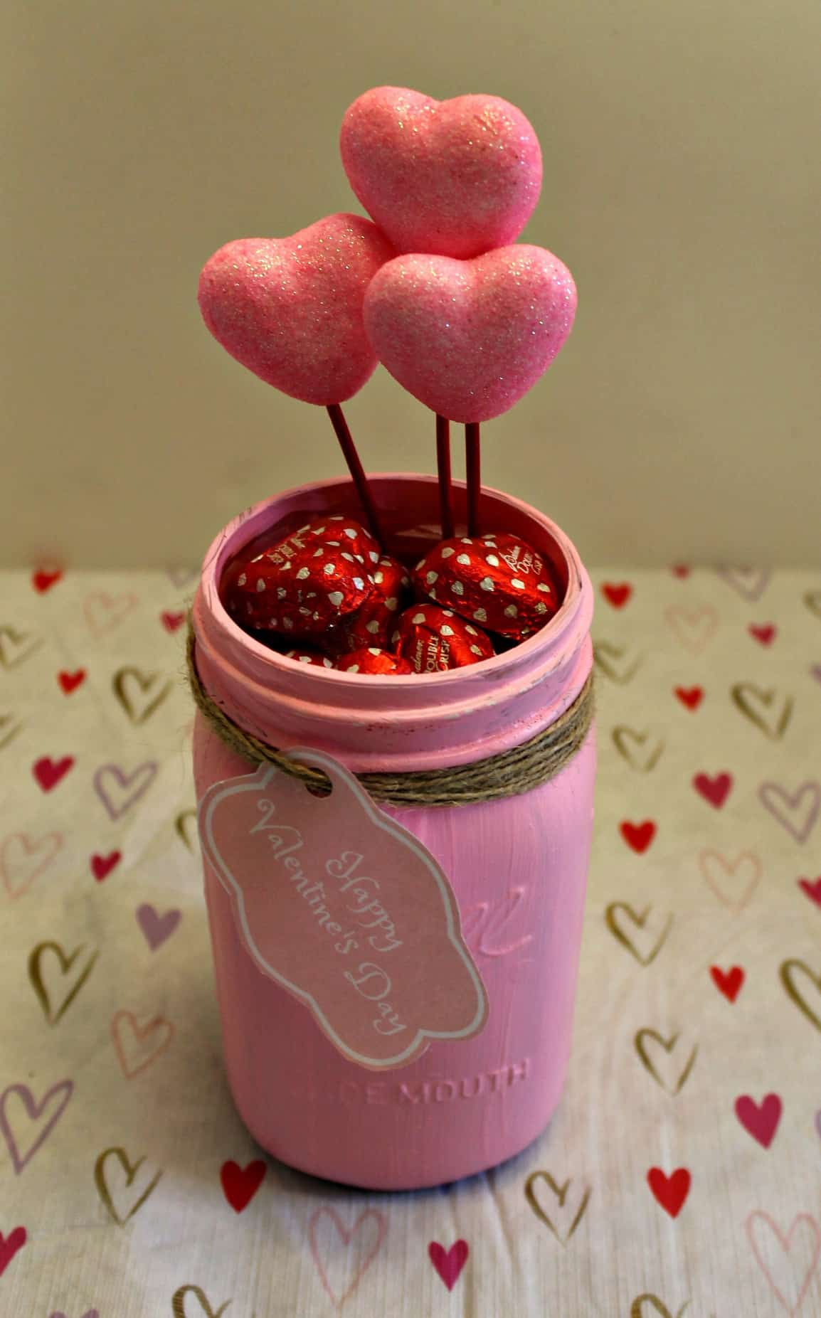 Valentine's Day Candy Mason Jar, Love Words, Love Notes