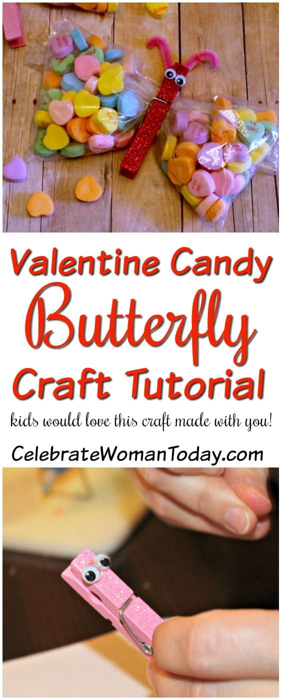 Valentines Day Craft Tutorial, Candy Butterfly Craft