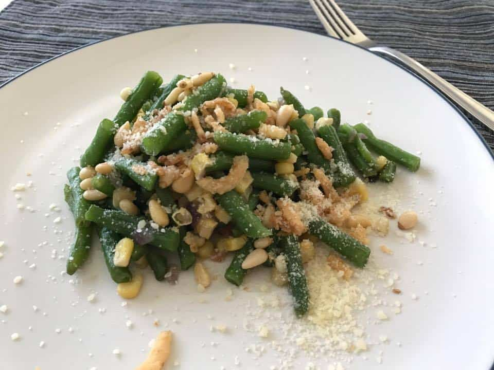 Green Beans Salad with Corn and Pine Nuts