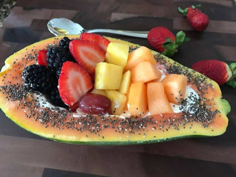 Papaya fruit bowl and chia