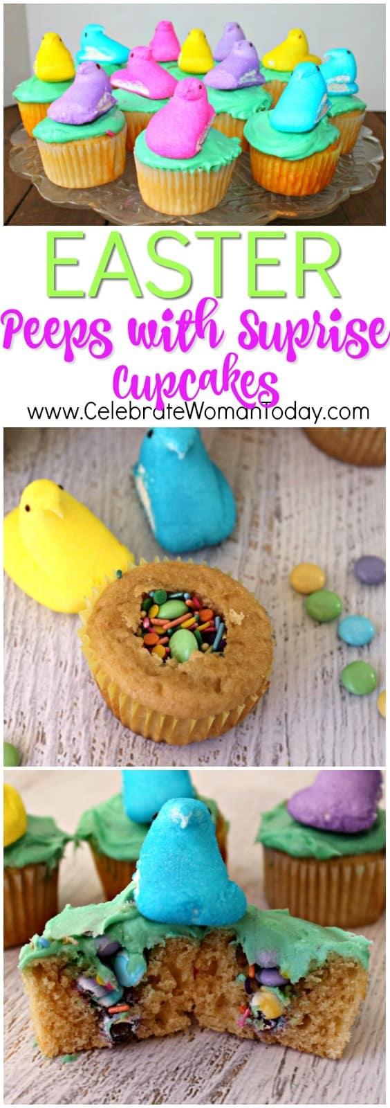 Easter Peeps Surprise Cupcakes