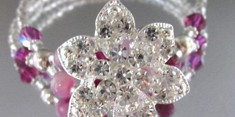 Fuchsia Agate Gemstone VINTAGE Crystal Button Bracelet Giveaway