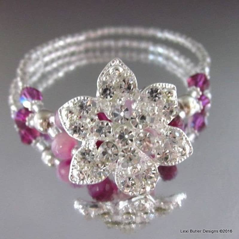 Fuchsia Agate Gemstone VINTAGE Crystal Button Bracelet