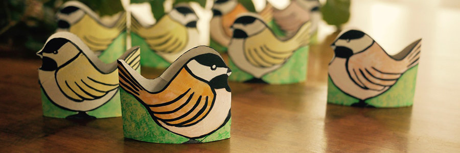 Toilet Paper Roll Painted Chickadees CRAFT