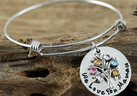 PERSONALIZED FAMILY BIRTHSTONE TREE BANGLE BRACELET #HeartThis Giveaway