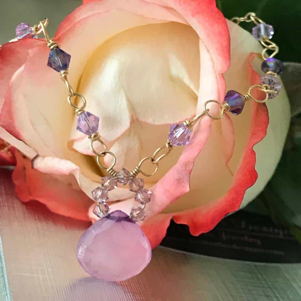 Lavender Chalcedony Crystal Necklace, Lexi Butler Designs