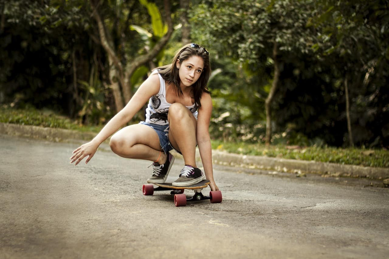 working out sweat on skateboard