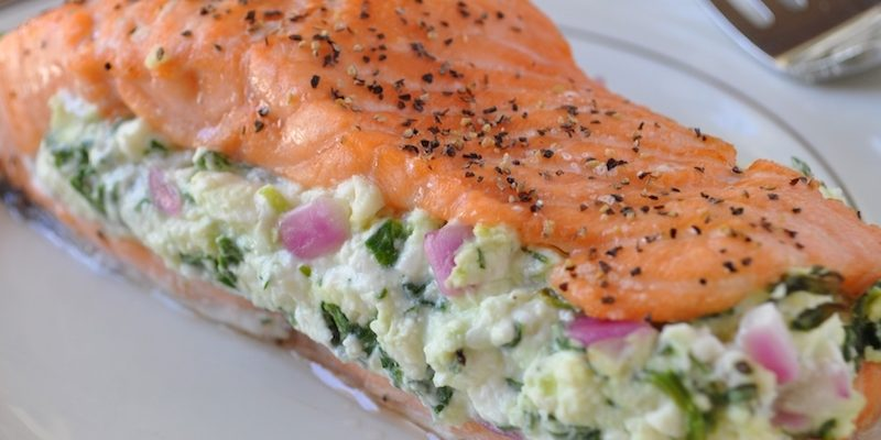 Simple Salmon with Spinach Feta Stuffing