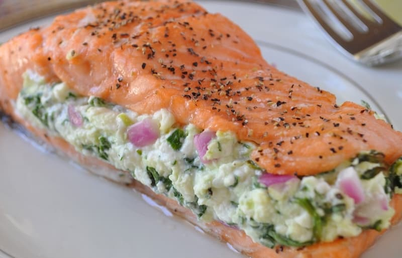 Salmon Recipe, Simple Salmon with Spinach Feta Stuffing Author Holly Clegg, Too Hot in the Kitchen book