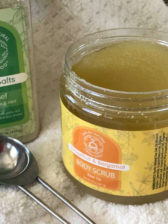 Green Goo natural personal care, Green Goo body scrub, Green Goo Bath Salts