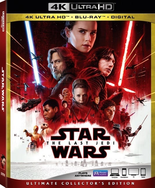 Looking for list of bonus items in the The Last Jedi blu-ray dvd release? Here's a list of all bonus items you can watch on a family movie night and on Movies Anywhere #TheLastJedi #HeartThis #Movies #PopcornTV