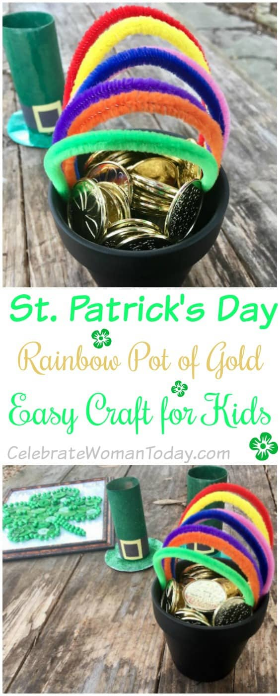 St Patrick's Rainbow Pot of Gold Craft for Kids Activity