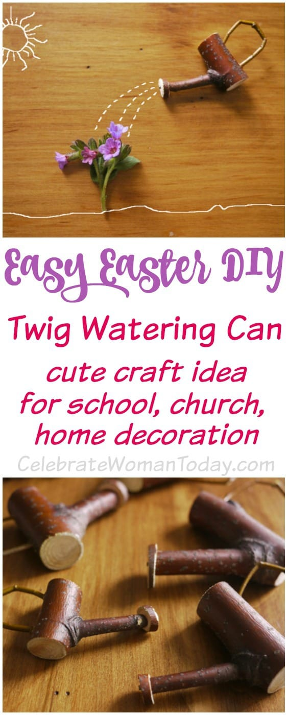 Easy Easter or Mother's Day DIY gift idea easily made out of a twig. This cute watering can could be your go-to craft when it comes to original gifts for special occasions and seasonal holidays #HeartThis #Craft #Easter #MothersDay
