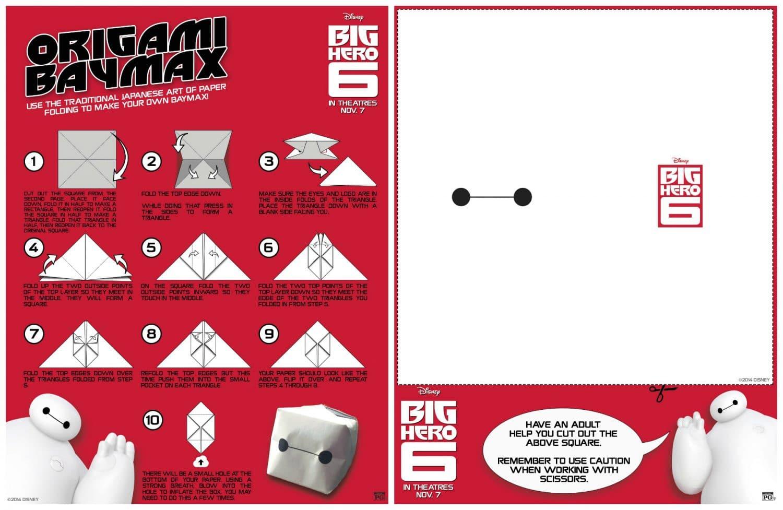 Big Hero 6 Home Activity Orgami Baymax DIY project