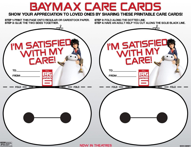 Big Hero 6 FREE Baymax Care Cards Printables
