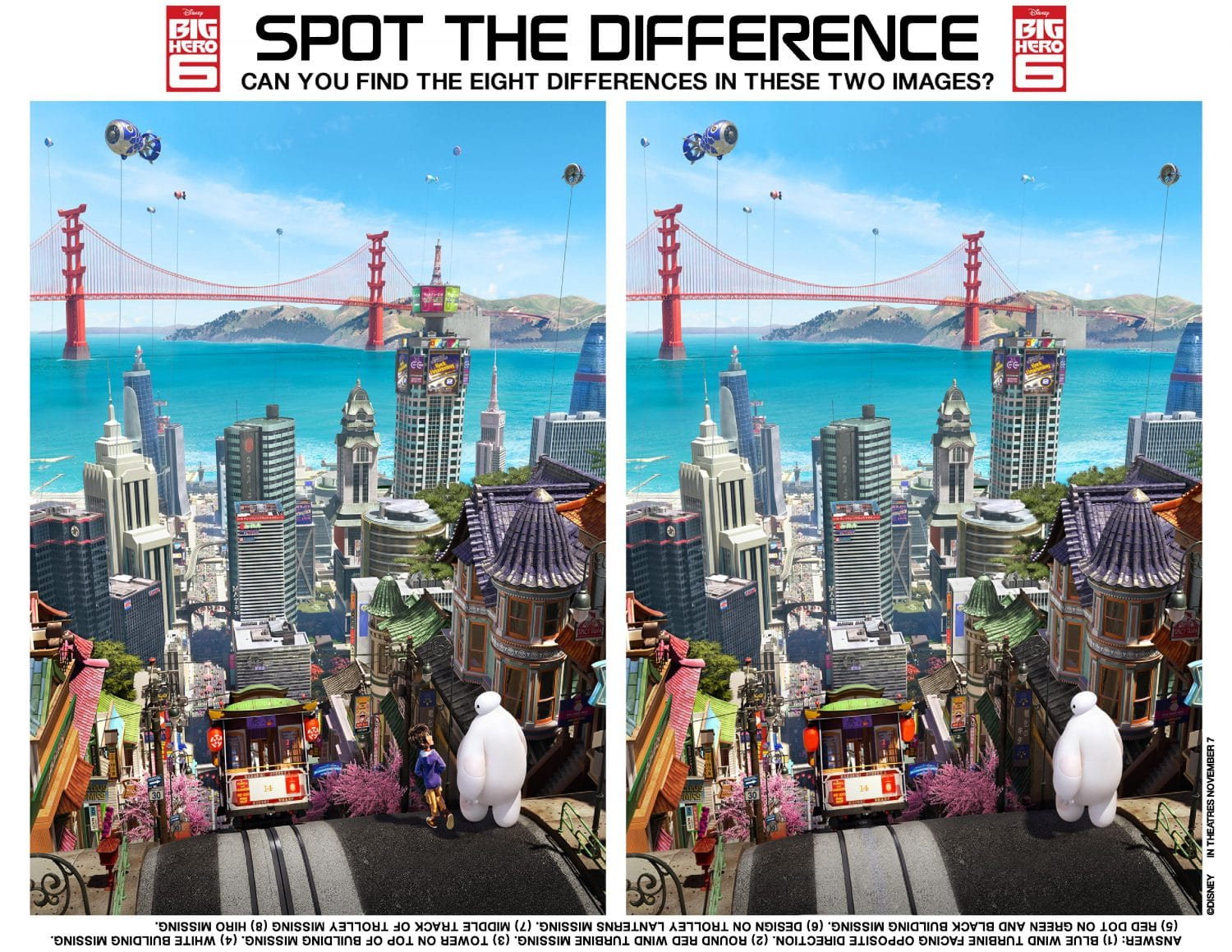 Big Hero 6 Home Activity Spot the Difference Free Printable