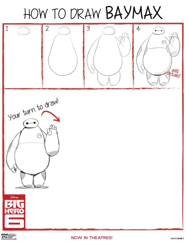 Big Hero 6 Home Activity HOW TO draw Baymax