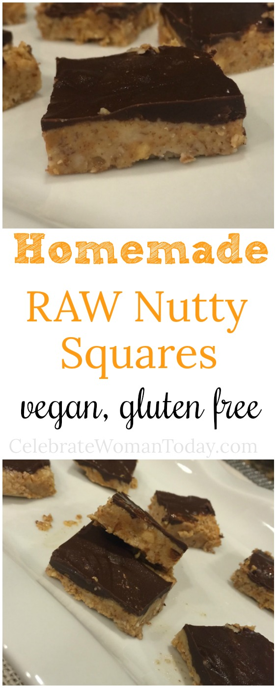 Homemade raw nutty squares have 4 ingredients for easy healthy snack
