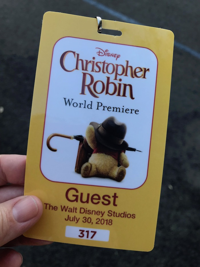 Guest Pass for the Red Carpet Christopher Robin World Premiere