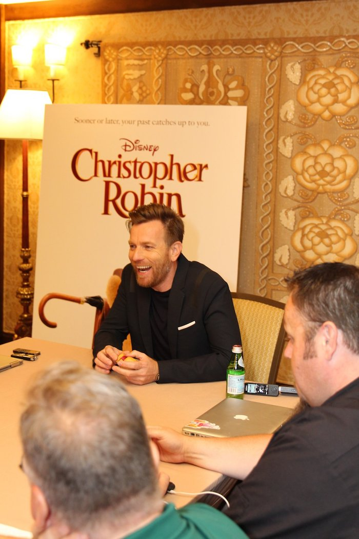 """Quotes from an interview with Ewan Mcgregor """"Eeyore is glum, very, very glum, but so adorable!"""" about Disney's live-action adventure CHRISTOPHER ROBIN"""