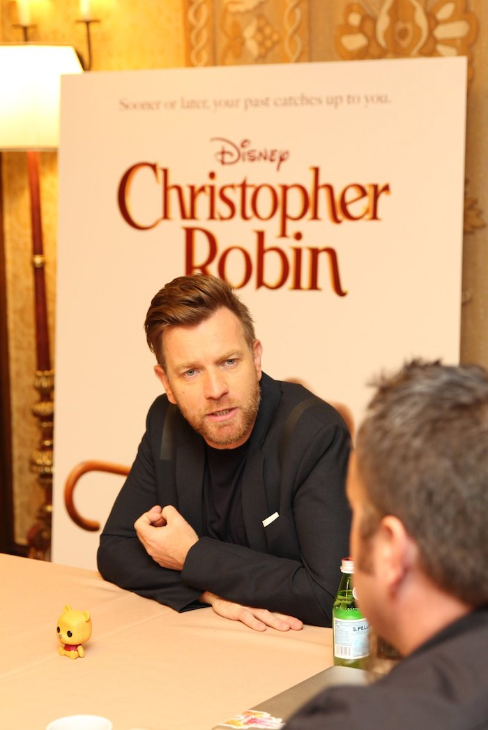 Ewan McGregor shared his filming process on Christopher Robin movie. He told funny stories how they had to film with stuffed animals or just an object with antenna in hands. Hilarious! Interview with Ewan McGregor in Disney's live-action adventure CHRISTOPHER ROBIN.