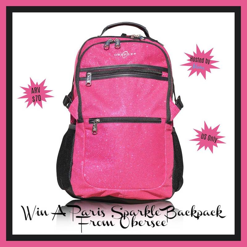 Obersee Paris Sparkle Backpack in Pink Color and glitter.