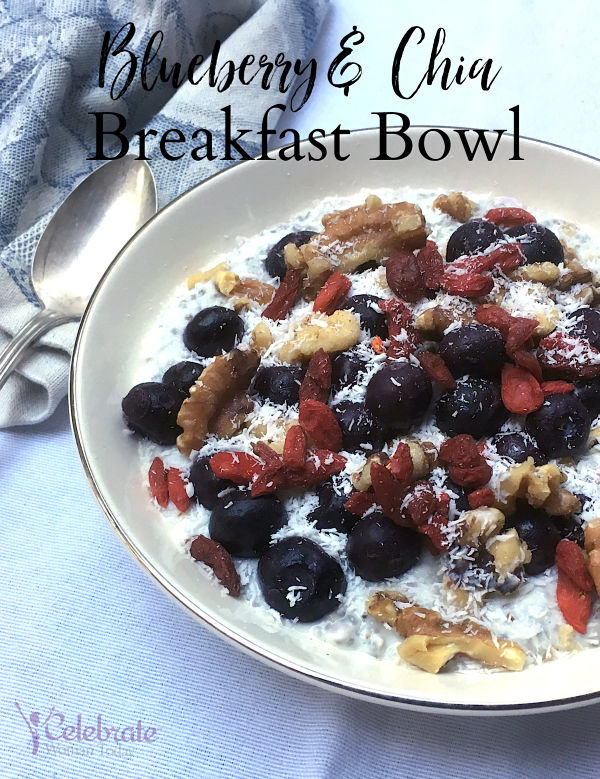 Healthy recipe Blueberry and Chia Breakfast Bowl from eBook COOKING FOR BREAST HEALT