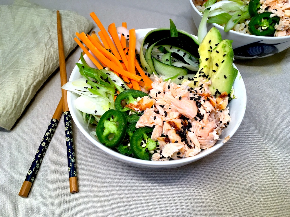 Healthy dinner with California Poke Bowl recipe for Breast Cancer Awareness and well-being during menopause