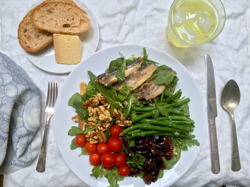 Classic Nicoise Sardine Salad Recipe with grape tomatoes
