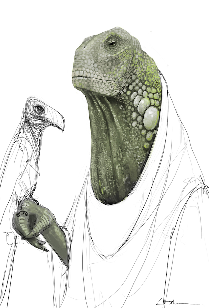 Concept Art for Dryden Vos creature in SOLO: A Star Wars Story movie
