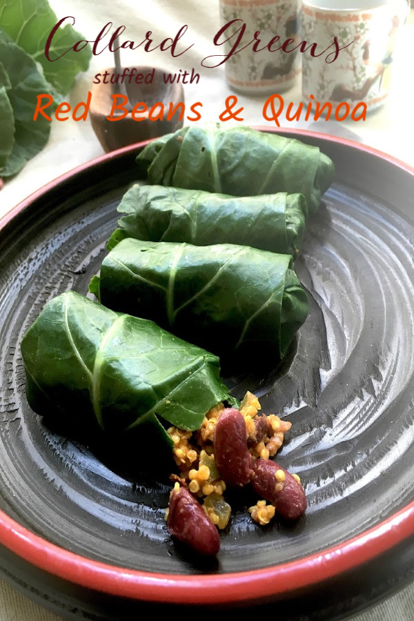Collard Greens stuffed with Red Beans and Quinoa recipe