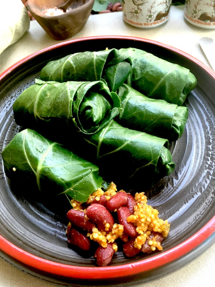 Red beans and quinoa stuffed collard greens rolls recipe is excellent for women with menopause and those going through breast cancer treatment