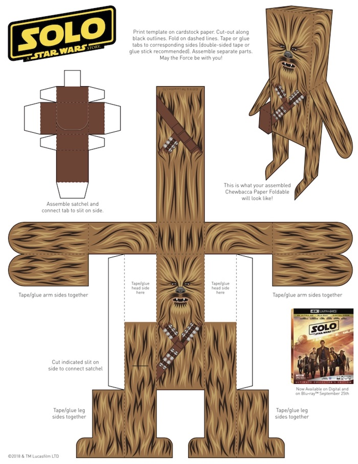 CHEWBACCA Paper Craft with Printable. Millennium Falcon Concept Art is Fascinating for SOLO A STAR WARS STORY, Lucasfilm