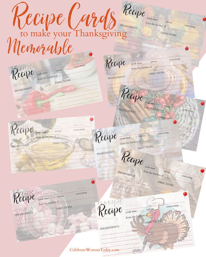 Recipe Cards for Your Memorable Thanksgiving Dinner Party are a gift to leave with your guests to make your food and hospitality unforgettable. Download this eBook with 15 unique recipe cards.