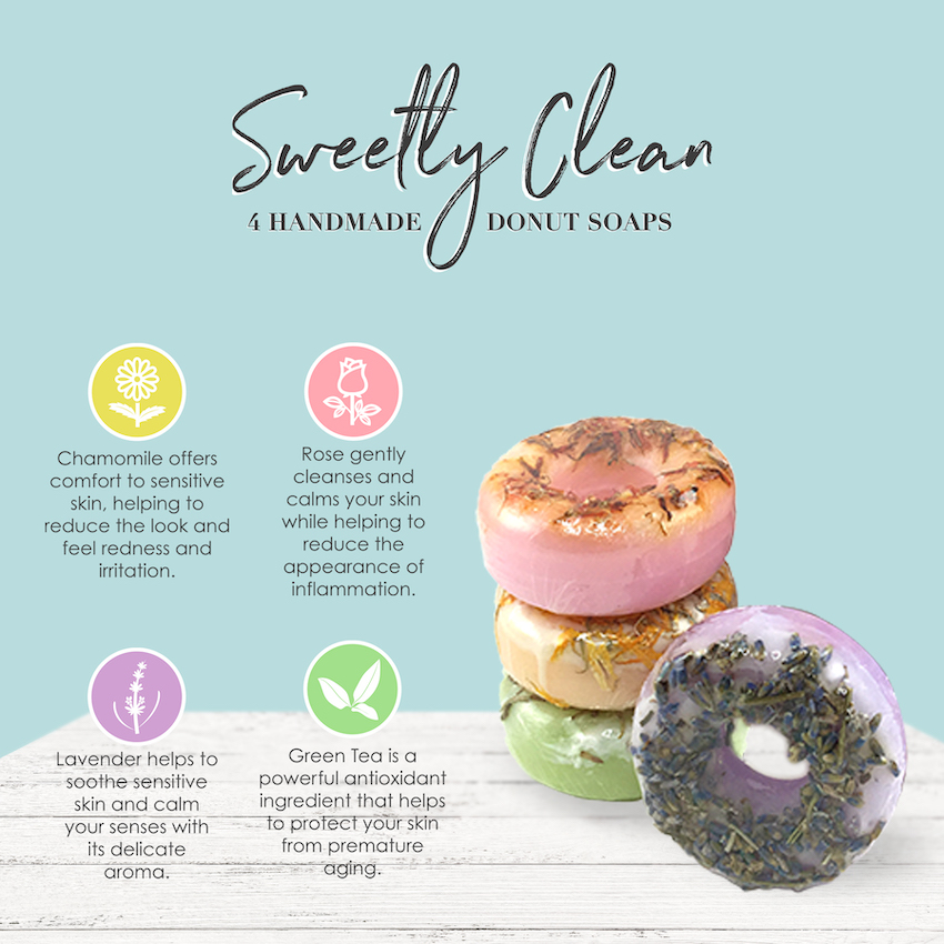 Crafted specifically with women in mind. Donuts Soaps are made with herbs and natural ingredients that make your daily routine so pleasant to use. Celebrate your inner beauty by using clean and eco-friendly personal care products like these Donut Soaps.