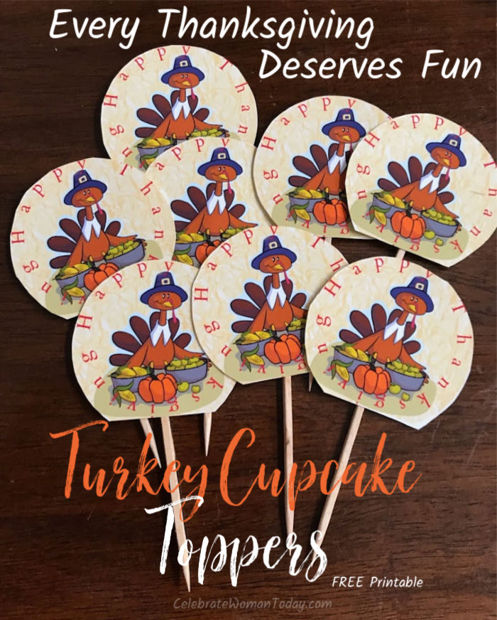 Let these cute turkeys adorn your cupcake desserts! Download this FREE printable turkey cupcake toppers