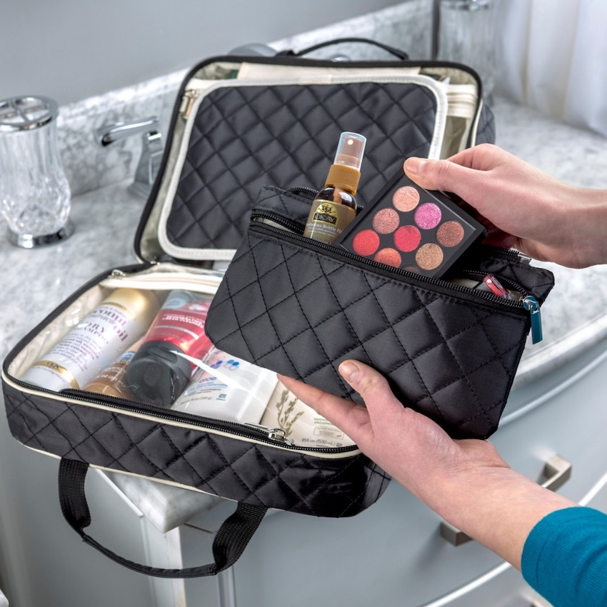 Hanging Toiletry Organizer by Ellis James Designs holds all travel essentials and can even store hair dryer.