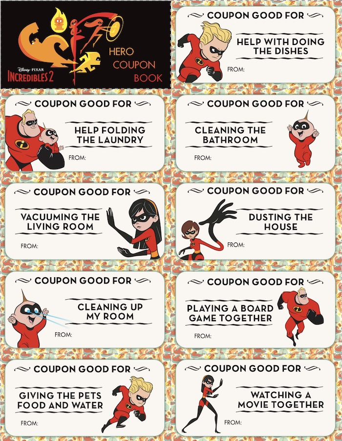 Unique #Incredibles2 Coupon Book of Rewards for Kids Chores at home. Absolutely amazing INCREDIBLES 2 printable recipes, craft and coloring pages. Download them all for your extra curricular and homeschooling activities.
