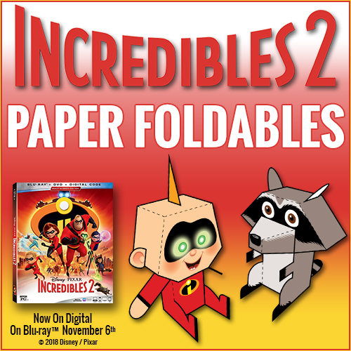 Enjoy INCREDIBLES Paper Craft of paper foldables for baby Jack-Jack and Raccoon