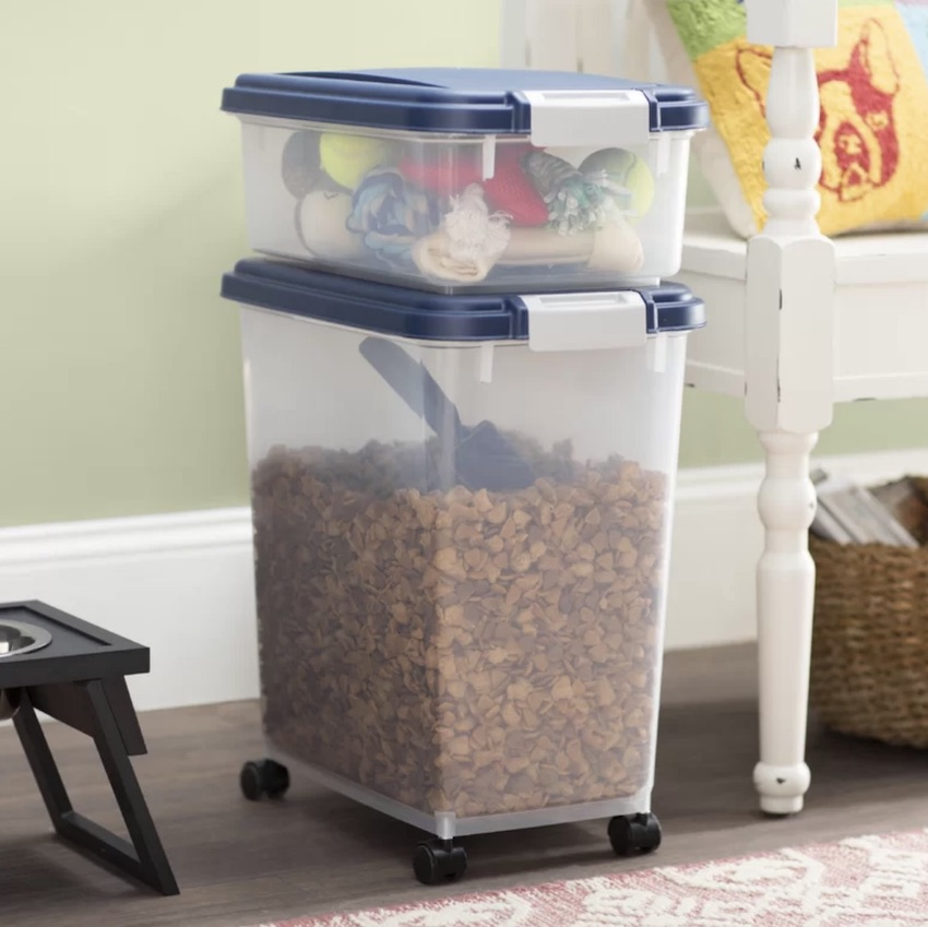 This pet and human friendly piece of interior can become one of your Fun Solutions to make home more pet-friendly. Check out the Ainsworth airtight pet food container that can serve as toy storage as well.