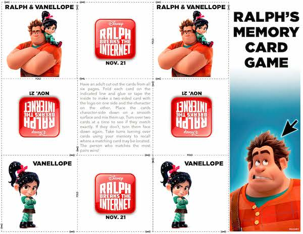 If you love WRECK IT RALPH: RALPH BREAKS THE INTERENT, download these crafts, paper printables and lots of Ralph, Yesss, and Vanellope printable material here.