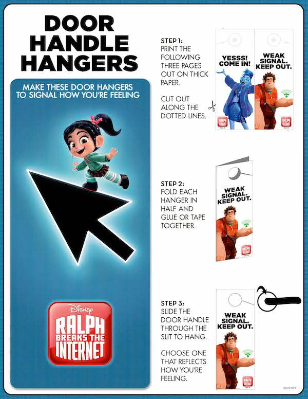 Easy to make Vanellope DOOR HANDLE HANGER! If you love Wreck It Ralph Disney animation, then you will LOVE characters from RALPH BREAKS THE INTERENT, download these crafts, paper printables and lots of Ralph, Yesss, and Vanellope printable material here.