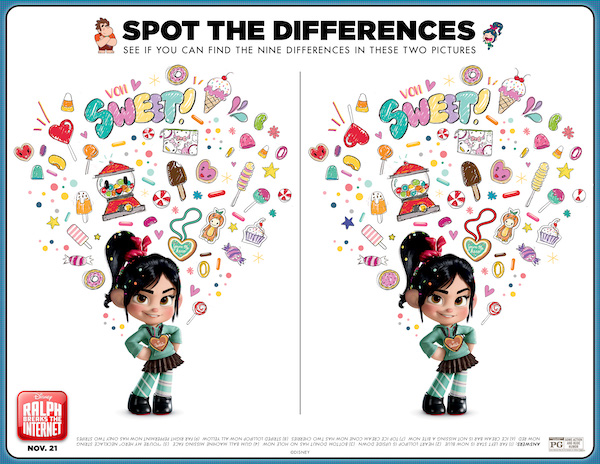 This SPOT THE DIFFERENCE is one of my favorite Vanellope printable! If you love Wreck It Ralph Disney animation, then you will LOVE characters from RALPH BREAKS THE INTERENT, download these crafts, paper printables and lots of Ralph, Yesss, and Vanellope printable material here.