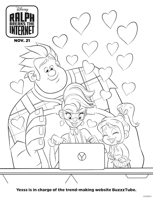 RALPH & Yess coloring page is one of my favorite printables! If you love Wreck It Ralph Disney animation, then you will LOVE characters from RALPH BREAKS THE INTERENT, download these crafts, paper printables and lots of Ralph, Yesss, and Vanellope printable material here.