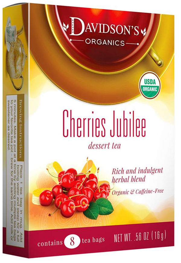 Women love dessert teas that are caffeine free and offer a beautiful aroma with every sip. This Cherries Jubilee by Davidsons Organics combines cherry and roasted almond essence with a base of creamy chicory, barley and South African rooibos.