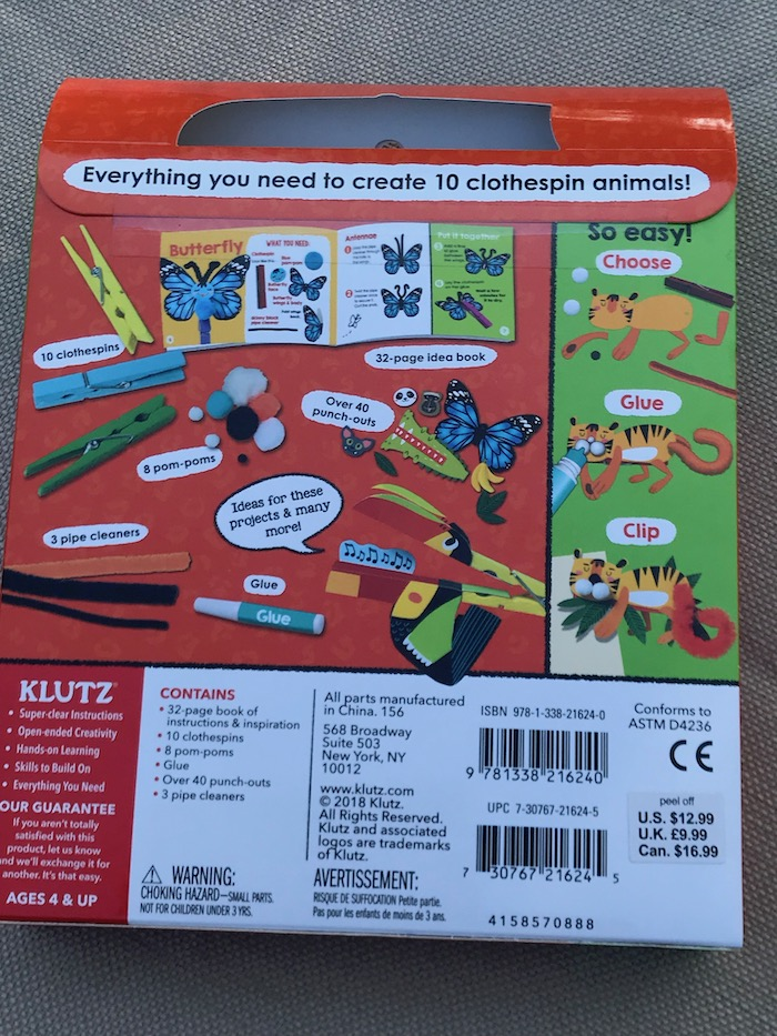 Looking for gift ideas for kids to inspire creativity? KLUTZ My Clothespin Zoo AND My Simple Sewing kits are the Ultimate gift for kids to craft and to imagine and tell their stories with what they make.