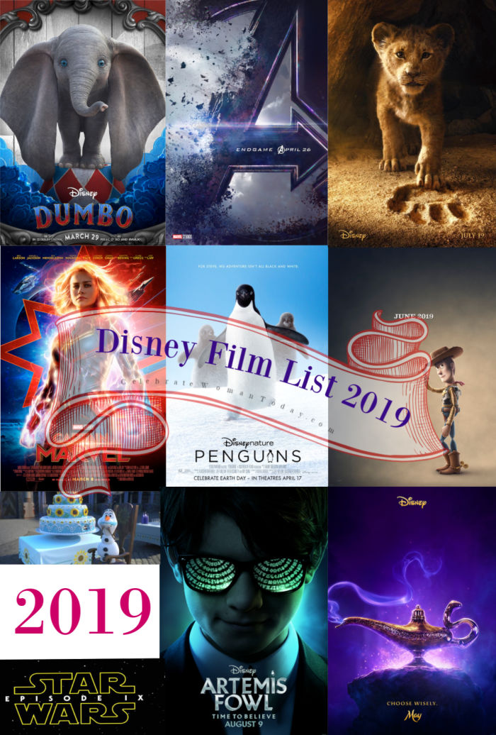 Here's your Disney Movie List 2019 with exciting movie releases from Walt Disney Animation Studios, Pixar, Lucasfilm, and Marvel #DisneyMovies #DisneyMoviesList #2019DisneyMoviesSlate #CelebrateWoman #movies #MarvelMovies #Lucasfilm